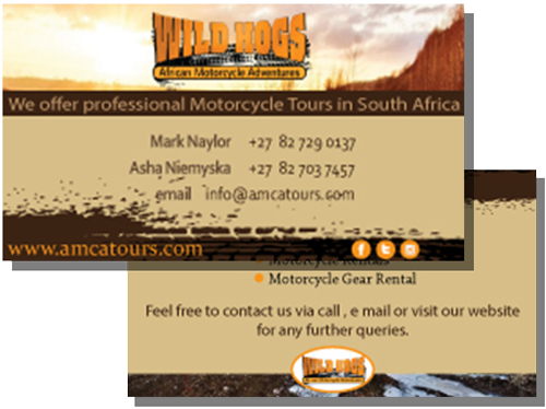 business card for wild hogs